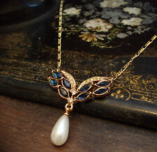 Drop Pendant Necklace with Gold Chain Vintage Montana Blue Crystal with Pearl