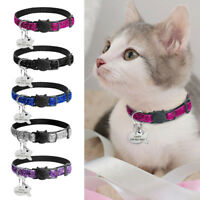 """3/8"""" Wide Sequins Safety Breakaway Cat Collar With Bell Custom Personalized Tag"""