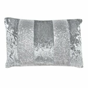 """'Red Rainbow' Faux Crushed Velvet Embellished Cushion Cover - Silver (17"""" x 11"""")"""