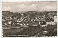 Ansichtskarte Schloß Stolzenfels mit Oberlahnstein am Rhein - Gesamtansicht s/w