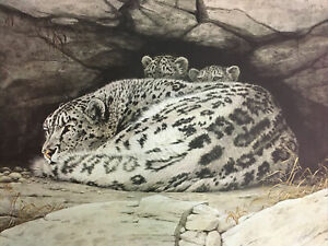 """""""Snow Leopard / Mother And Cub"""" by Guy Coheleach Signed Print"""