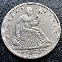 1853 Seated Liberty Half Dollar 50c High Grade XF +   #16844