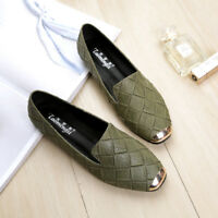 Womens Square Toe Slip On Flat Heels Fashion Style Loafers Shoes Plus Size A905