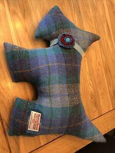 Harris Tweed Dog Cushion Blue Green