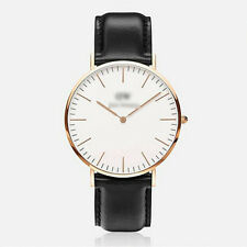 Ladies Fashion Rose Gold Quartz White Face Black Band Wrist Watch(Aussie Seller)