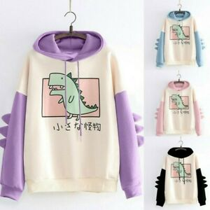 Lady Girl Dinosaur Hoodie Sweatshirt Pullover Tops Japanese Mori Harajuku Casual