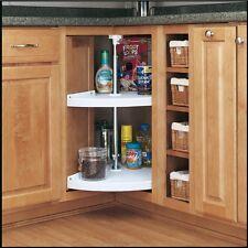 White Polymer Mount 2-Shelf Pie Cut Lazy Susan Pantry Kitchen Corner Cabinet