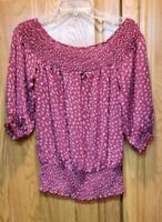 Romy Women's Red Floral 3/4 Sleeve Elastic Waist Peasant Top Blouse Size XS