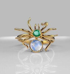 14K Gold Genuine Emerald And Rainbow Moonstone Spider Design Ring Fine Jewelry