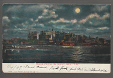 [44743] 1907 POSTCARD NEW YORK CITY RIVER FRONT BY NIGHT
