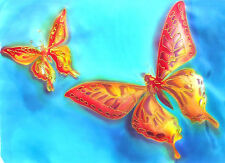 "ORIGINAL SILK PAINTING of ""Butterflies"". Hand Painting on Silk by Viga"