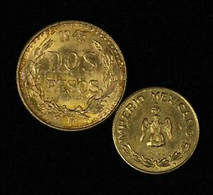 1865-B Imperio Mexicanos & 1945-M Dos Pesos Gold Coins - Free Shipping USA