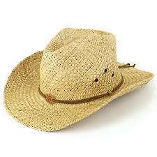 Straw Cowboy Hat Stetson Hawkins Sun Cap Mens Womens Band Ladies Fedora Summer
