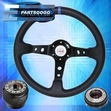 Deep Dish Black Steering Wheel + Slim Quick Release + Adapter For 89-05 Eclipse