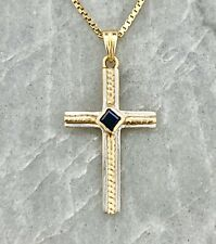 """Sapphire Two Tone Gold Cross Necklace, 14K - 16"""" Chain"""