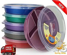 Food Storage Containers Set Divided Plates With Lids 6 Pcs Microwave Trays Safe