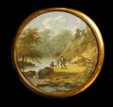 Scène de pêche au filet ou braconnage en miniature XIX e Fishing or poaching