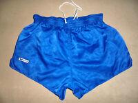vintage ERIMA Nylon Shorts oldschool pants sport blau glanz hose 80`s Gr.6 M