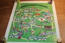 Original VTG 70's 80's Marta Transportation ATLANTA Map Cartoon Poster Barb Lee