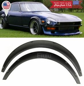 """2 Pcs 1.75"""" Wide ABS Black Flexible Fender Flares Extension For Honda  Acura"""