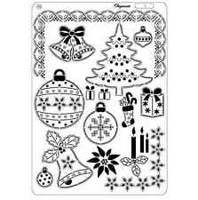 Pergamano parchemin craft multi grille 10-arbre de noël frontières stocking babiole