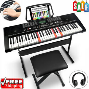 IROPRO 61 Keys LED Electronic Keyboards Kit Pro Digital Piano with Stand & Stool