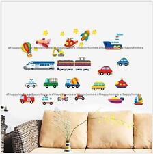 Transport Wall stickers Train Ship Car Police Decals Art Kids Nursery Bedroom