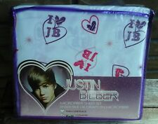 Justin Bieber Full Microfiber 4pc Sheet Set I love JB heart <3 NEW christmas gif