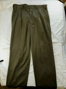 Nike Mens Pleated Golf Pants Size 34X29  Olive Polyester  Hemmed