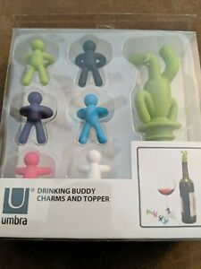 Umbra Drinking Buddy Charms & Toppers Set of 6 + Bottle Cork