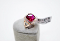 Wedding Engagement Red Ruby Rose Gold 5.75 ct simulated diamond Ring size 7