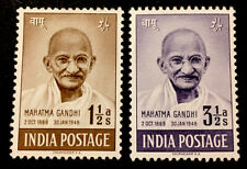 """India """"First Annv of Independence-Gandhi"""" 1948 MINT STAMPS 1 1/2a & 3 1/2a MLH"""