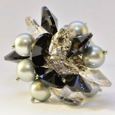 Adjustable ring-Crystal, glass pearls and silver-grey, black and silver-one size