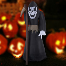 2.4m Black Inflatable Ghost W/ Sickle Halloween Decoration Light Up Out/Indoor
