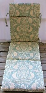 Outdoor Patio Chaise Cushion ~ Pietro Damask Peacock ~ 21 x 72 x 4 NEW