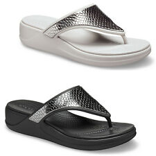 Crocs Monterey Metallic Wedge Flip Flops Summer Holiday Heeled Womens Sandals