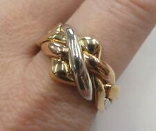 9ct Solid Gold Puzzle Ring - 4 Bands - Yellow, Rose & White- Size V -7.5 grams