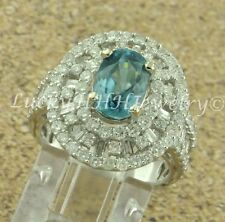 4.27 ct 18k  White Gold Ladies Natural Oval Blue Zircon &  Diamond Ring Baguette