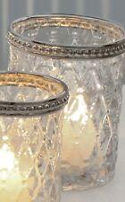Teelicht Glas mit Metallrand 6,5x7,5cm Windlicht Kerzenhalter Kerzen Tisch Deko