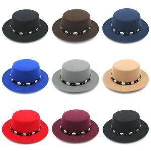 Unisex Wool Wide Brim Boater Flat Top Pork Pie Hat Fashion Gentleman Fedora Cap