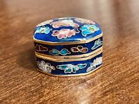 Vintage Chinese Cloisonne Enamel Trinket Box with Hinged Lid Brass Cobalt