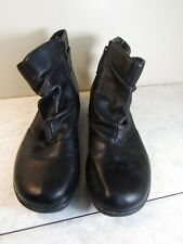 Clarks Smooth Black Leather Side Zip Buckle Trim Ankle Boot Women's Size 10 M