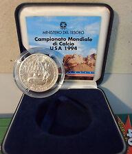 ITALIA LIRE 10.000 1994 MONDIALI CALCIO USA FDC + ARGENTO SILVER in BOX DI ZECCA