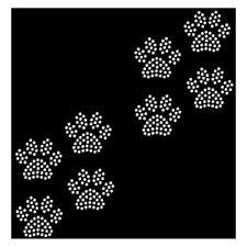 Strassmotiv - kleine Pfötchen Bügelbild aus Strass