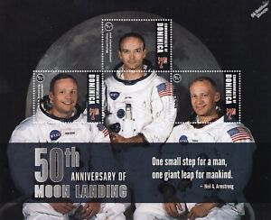 APOLLO 11 Crew Armstrong/Collins/Aldrin Moon/Space Stamp Sheet (2019 Dominica)