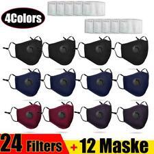 Wiederverwendbar Atemschutz Gesichtsmaske Mundschutz Staub Waschbar + 24 Filters