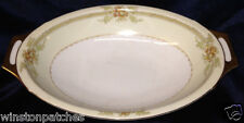 "MEITO CHINA NSP CHINA IRVING 11 1/2"" OVAL VEGETABLE BOWL BROWN FLORAL GOLD TRIM"