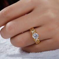 2 Ct Round Cut  D/VVS1 Moissanite Engagement Ring 18K Yellow Gold Finish