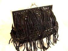 Black Satin Sequin Bead Tassel clutch bag purse handbag Gatsby Art Deco