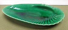 "Vintage Large 12-1/2"" Wedgwood Majolica Etruria Barlaston Green Shell Dish!"